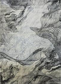 Nowoczesny dywan MARVEL 7601 GREY Carpets24 carpets24pl fraktale plamy mozaika kleksy wstęgi szary beżowy