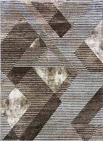 Nowoczesny dywan MARVEL 7602 BEIGE Carpets24 carpets24pl fraktale plamy mozaika kleksy wstęgi szary beżowy pasy linie kwadraty geometria